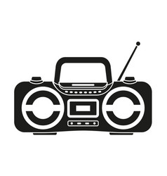 black and white boombox silhouette vector image