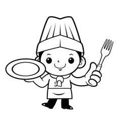 Black and white cook mascot is holding a plate vector