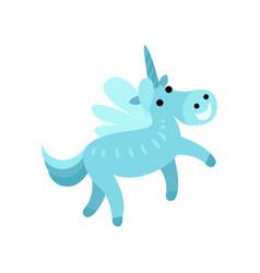 blue fairytale unicorn with a rainbow mane cartoon vector image