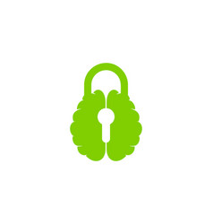 Brain security logo icon design vector
