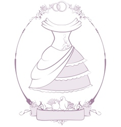 Bride wedding dress in frame vector image