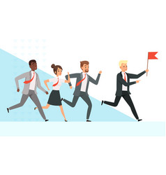 business people running workers managers male vector image