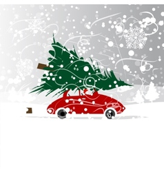 Car with christmas tree winter blizzard for your vector