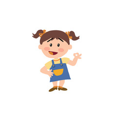 cartoon character girl in approval attitude vector image