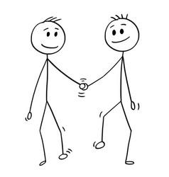 Cartoon of homosexual couple of two gay men vector
