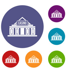 Casino building icons set vector