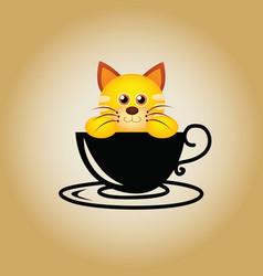 Cat logo coffee vector