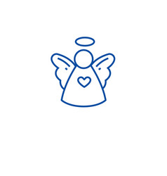 christmas cute angel line icon concept christmas vector image