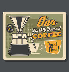 coffee maker and cup cafe price menu vector image