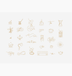 coffee minimalism modern symbols turquoise vector image