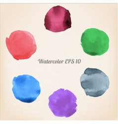 colorful isolated watercolor paint circles vector image