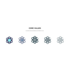 Core values icon in different style two colored vector