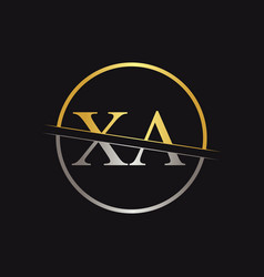 Creative letter xa logo with gold and silver vector