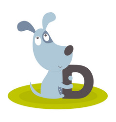 Cute animal alphabet with dog vector