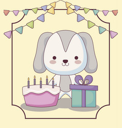 Cute doggy happy birthday card vector