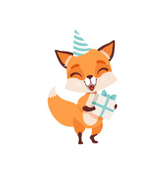 Cute fox character in party hat holding gift box vector