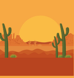 desert with cactus scenery vector image