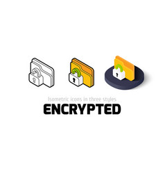 Encrypted icon in different style vector image
