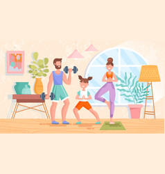 fit healthy young family training or exercising vector image