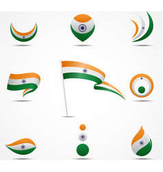 Flags and icons of india vector
