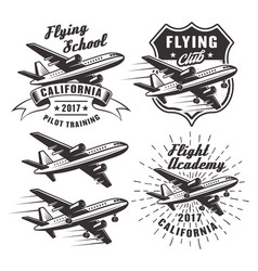 Flying school emblems with airplane vector