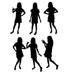 funny girl silhouettes vector image