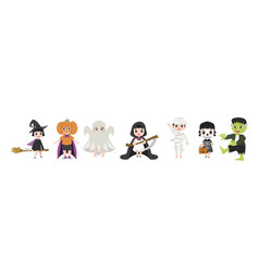 Funny kid halloween character cartoon set vector