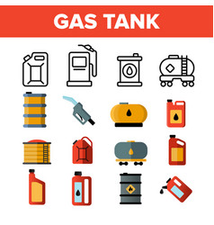 Gas petrol tank linear icons set vector