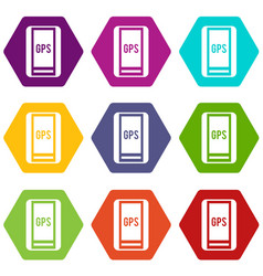 Global positioning system icon set color vector