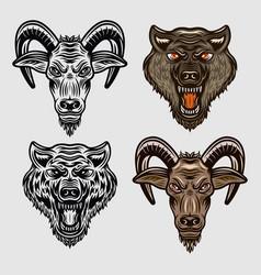 Goat head and wolf head cartoon characters vector