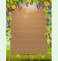Grape arch and wooden sign vector