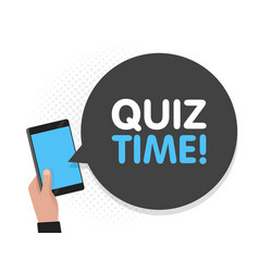 hand holding smartphone screen background quiz vector image
