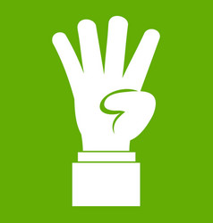 hand showing number four icon green vector image