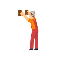 Handyman fixing shelf to wall male construction vector