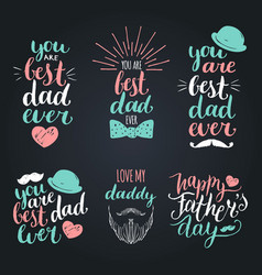happy fathers day vintage logotypes set vector image