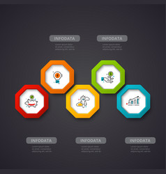 hexagons infographic on a dark background vector image