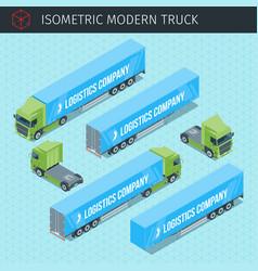 Isometric cargo truck vector