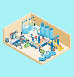 Isometric dairy plant template vector