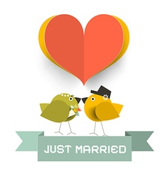 Just Married Card with Paper Cut Heard and Love vector image