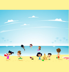 Kids at the children camp with summer landscape vector