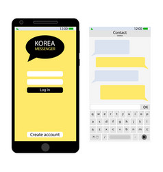 Korea messenger user interface vector