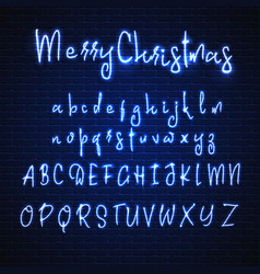 Latin neon font merry christmas glowing alphabet vector