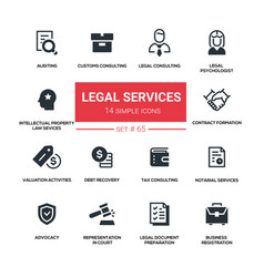 Legal services - line design silhouette icons set vector