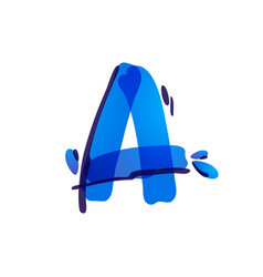 Letter a eco logo with blue water drops vector