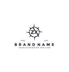 Letter zx compass logo design vector
