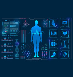 Medical health care human virtual body hi tech vector