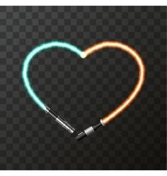 Modern concept heart and lightsaber vector