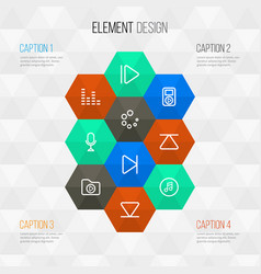 Multimedia outline icons set collection of media vector