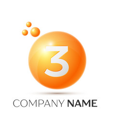 Number three splash logo orange dots and bubbles vector