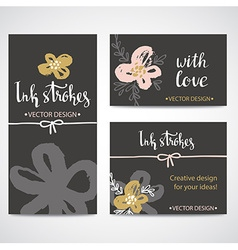 painted pink and gold flowers set backgrounds vector image